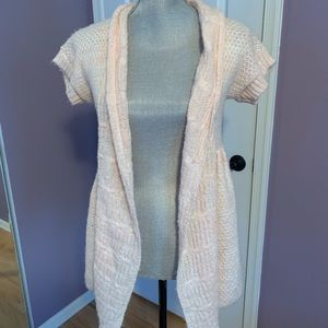 Short sleeve sweater open cardigan